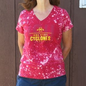 ISU Cyclones Custom Bleach V Neck Tee sz M